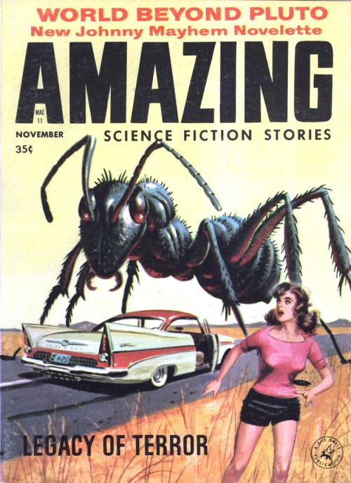 Amazing Science Fiction Stories, november 1958. Giganterne kommer!
