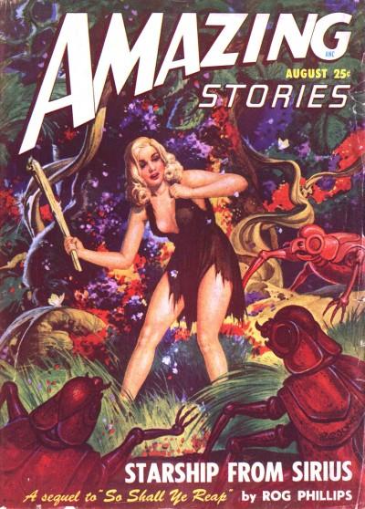 Amazing Stories, august 1948. En stakkels kvinde i desperat kamp mod kæmpe insekter fra Sirius