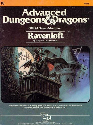 Det klassiske scenarie Ravenloft fra 1983, bl.a. skrevet af denne ene af Drangonlance-skaberne. forsiden er malet af Clyde Caldwell
