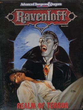 Ravenloft: Realm of Terror fra 1990. Kampagneverden og smukt illustreret idékatalog. Forsiden er malet af Clyde Caldwell