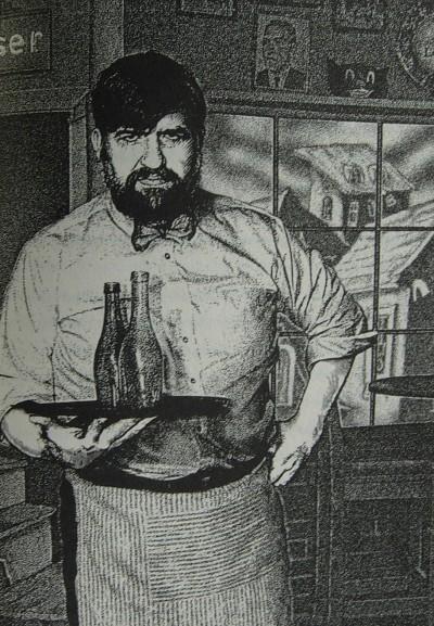 Illustration fra bogen. Hvem hænger der på væggen bag bartenderen? Tegning af Jason Van Hollander