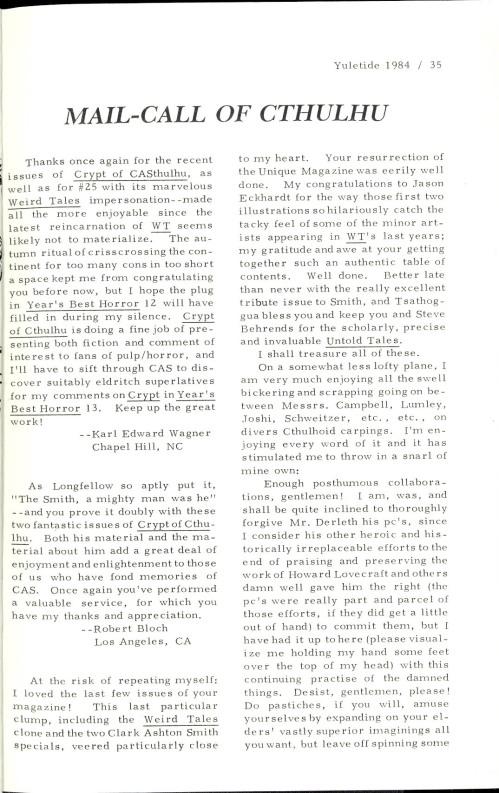 Crypt of Cthulhu, nr. 28 1984. Læserbreve