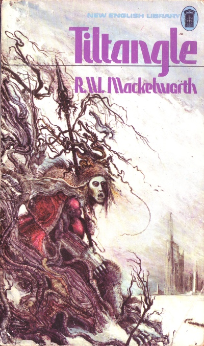 Paperback, New English Library 1975. Her en Mackelworth-roman med en ganske, ganske fin forside af Ian Miller
