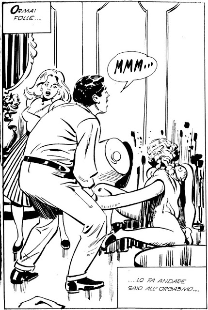 """Cimiteria nr. 79 februar 1981. Her er et af de mere kulørte eksempler på freak-fascinationen. Historien hedder """"La Verga Del Gigante (""""En kæmpes stav""""), og andler om en mand med et gigantisk lem, der ufrivilligt myrder med det enorme enorme organ"""