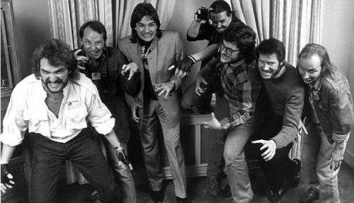 Splatterpunks fotografet i 1986. Fra højre mod venstre: Craig Spector, Joe Lansdale. Richard Christian Matheson, David J. Schow, Ray Garton, Robert McCammon, John Skipp
