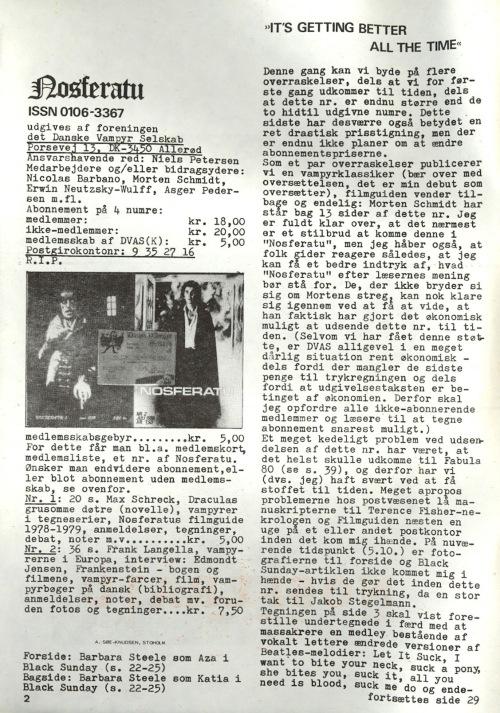 Nosferatu nr. 3, oktober 1980. Leder, s. 2
