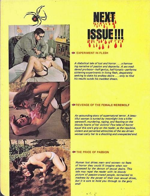 Horror Sex Tales, Gallery Press 1972. Bagsiden med reklamer for et blad der aldrig udkom