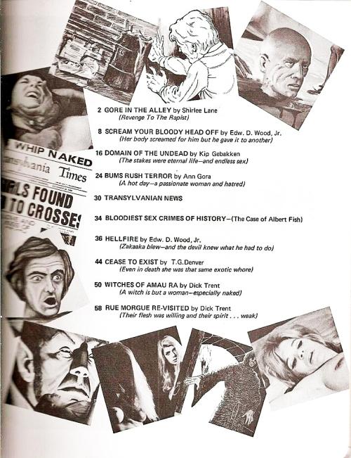 Horror Sex Tales, Gallery Press 1972. Snyd ikke dig selv for indholdsfortegnelsen. Titler og de små vignetter siger alt om bladets kulørte indhold. Herligt!