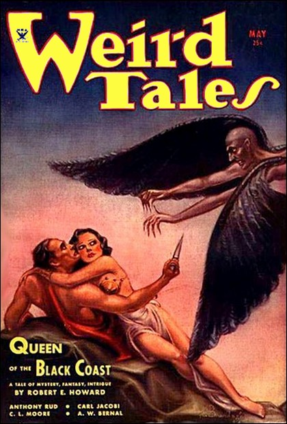 "Weird Tales, maj 1934. Det nummer hvor Robert Howards ""Queen of the Black Coast"" udkom første gang"
