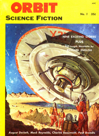 "Orbit Science Fiction, sommer 1953. Her optrådte ""Invaders from the Microcosm"" første gang"