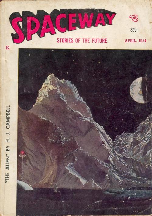 "Spaceway, april 1954, med novellen ""The Remarkable Dingdong"""