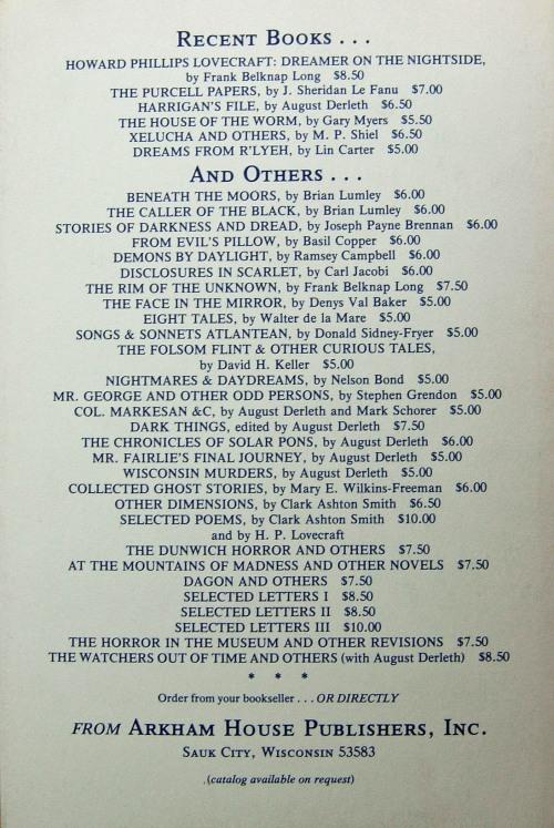 Hardcover, Arkham House 1975
