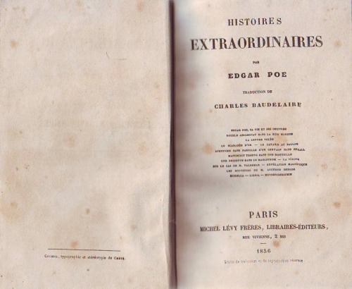 Hardcover, Michel Levy 1856, 1. udg.  Titelbladet til Charles Baudelaires banebrydende oversættelse af Poe til fransk