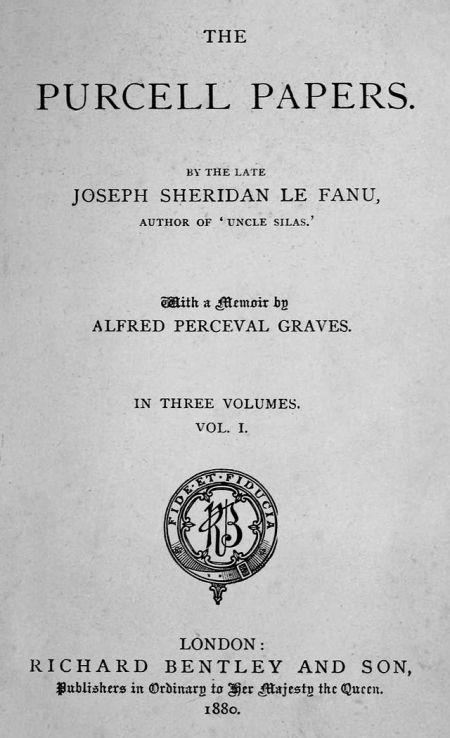 Hardcover, Richard Bentley 1880. Titelbladet på den oprindelige udgave af The Purcell Papers