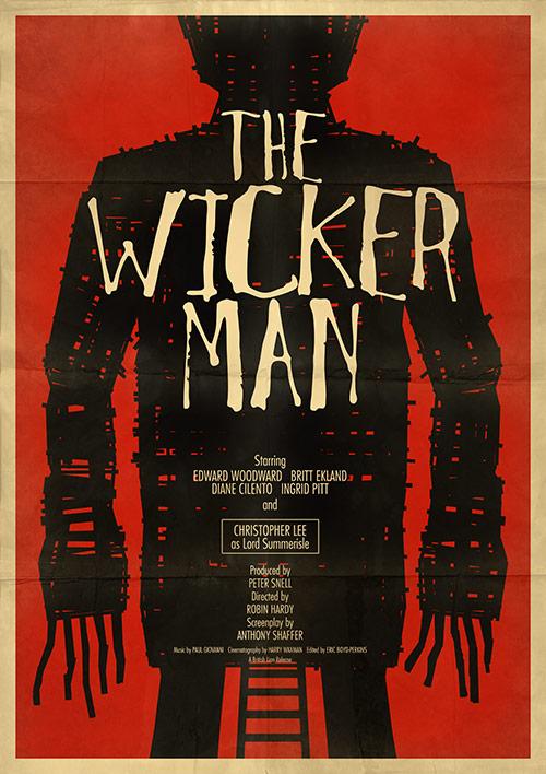 """The Wicker Man, filmplakat 1973. Den ikoniske """"wicker man pryder naturligvis plakaten. Han optræder ikke i bogen - så er det afsløret"""