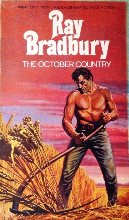 """Paperback, New English Library 1970. DEsværre er det ikke oplyst. hvem der har malet forsiden. Billedet henter sit motiv fra novellen """"The Scythe"""""""