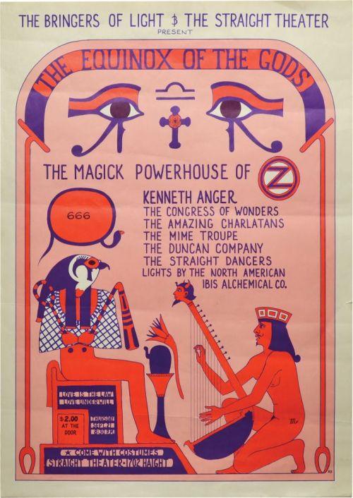 Den såkaldte Equinox-Festival afholdt i Straight Theatre i San Francisco d.  21. September  1967. Filminstruktøren Kennth Anger var hovedarrangør og The Magick Powerhouse of Oz optrådte for uden Anger selv, der udførte et Crowley-ritual på scenen. Den ret fede plakat blev skabt af Randy Salas. Prøv at bemærk detaljerne.