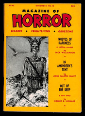 "Magazine of Horror, vol. 3, nr. 6, november 1967. Bladet hvor novellen ""Out of the Deep"" er trykt"