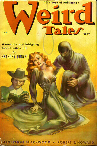 """Weird Tales, september 1938. Bladet hvor novellen """"A Thunder of Trumpets"""" blev trykt første gang"""