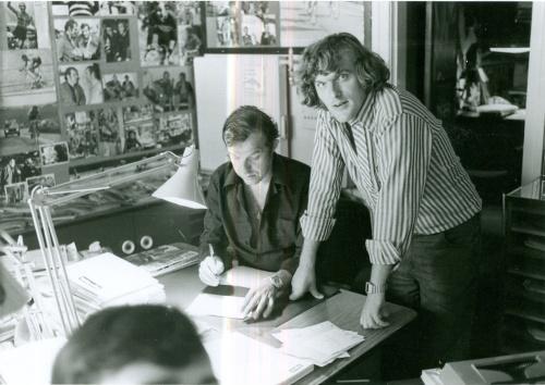 Bjarne Castella med Kurt Thyboe på Rapport-redaktionen 1974