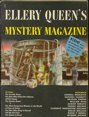 "Ellery Queen's Mystery, december 1949. Her finder man historien ""Fool Proof"" med Judge Peck"