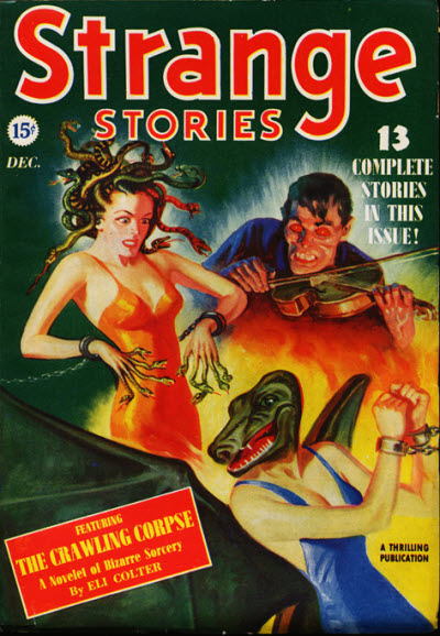 """Strange Stories, december 1939. Nummeret med Cthulhu mythos-novellen """"The Passing of Eric Holm"""""""