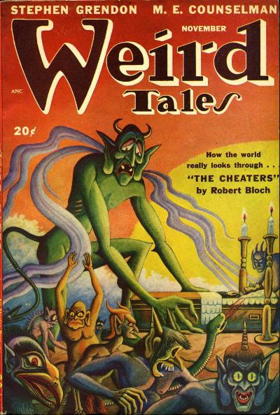 """Weird Tales, november 1947. Bladet hvor """"The Ghost Walk"""" optrådte første gang"""