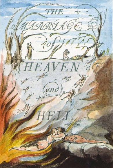 Håndkoloreret titelblad fra The Marriage of Heaven and Hell, Hardcover, trykt i London omkring 1795