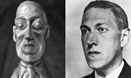 H. P. Lovecraft og Gahan Wilsons omdiskuterede portrætbuste af Lovecraft fra 1975