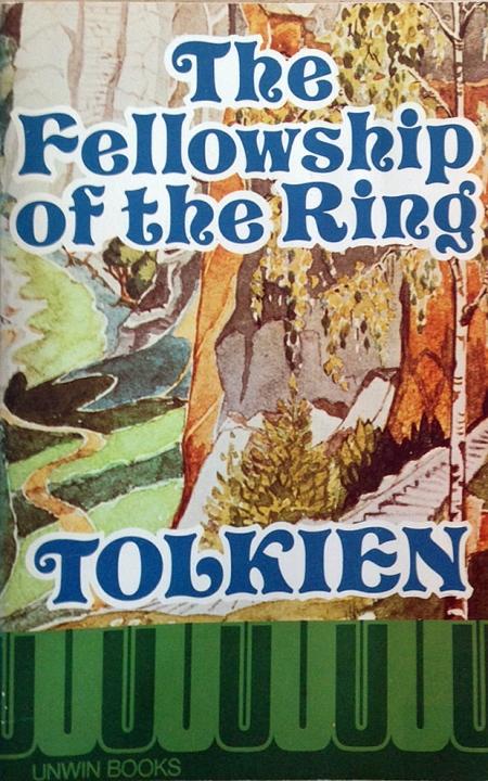 Paperback, Unwin Books 1975. Forsidens illustration er udført af Tolkien selv