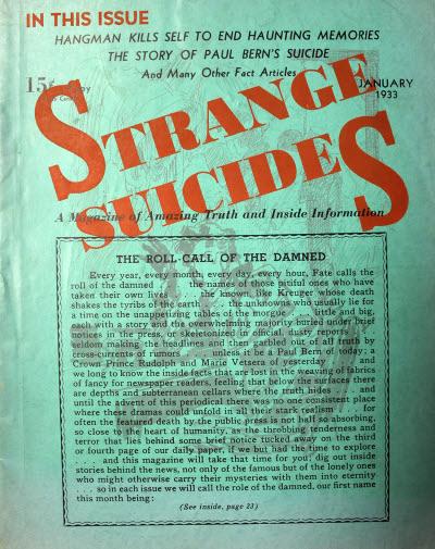 Strange Suicides, januar 1933