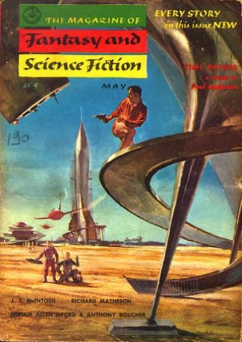 "The Magazine of Fantasy  and Science Fiction, maj 1955, med novellen ""Free Dirt"""